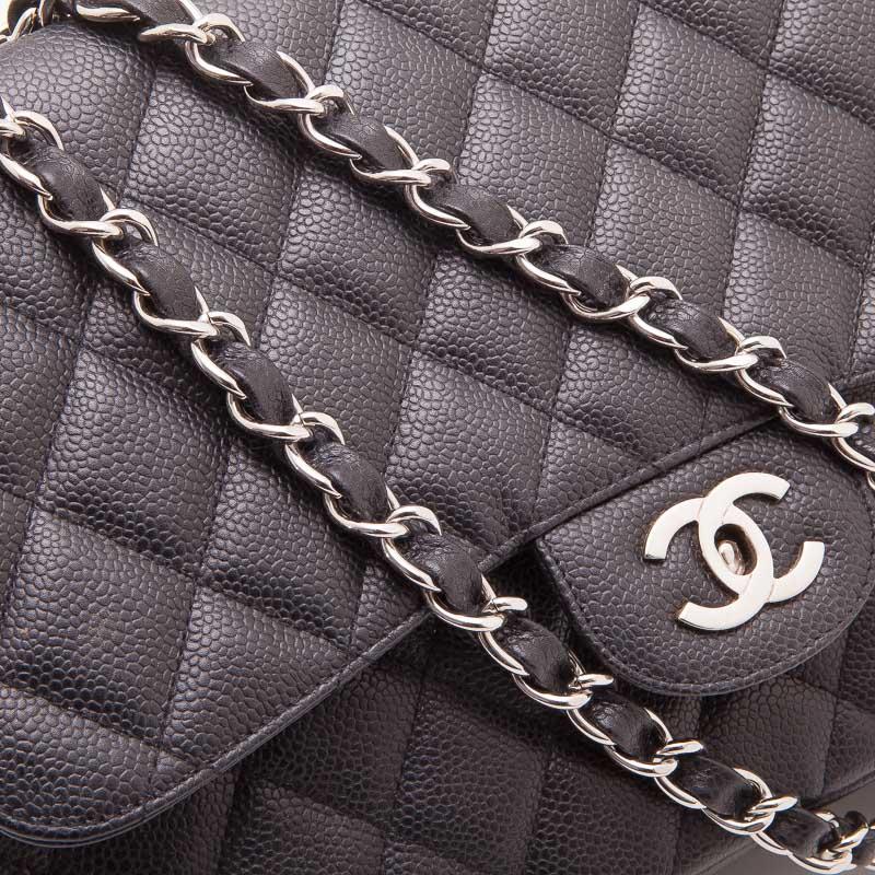 Chanel Black Caviar Jumbo Classic Flap Bag