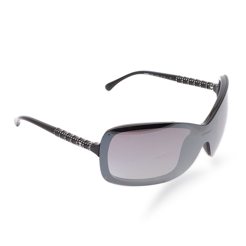 Chanel Black Rectangle Shield Sunglasses
