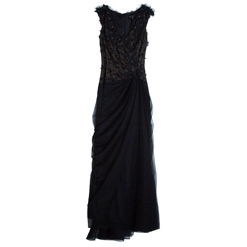 Black Floral Embellished Gown XL USD 515