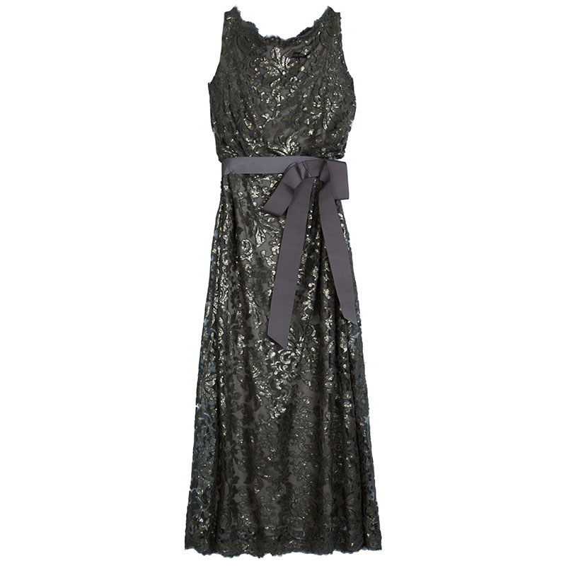 Grey Sequin Belted Gown XXL USD 416