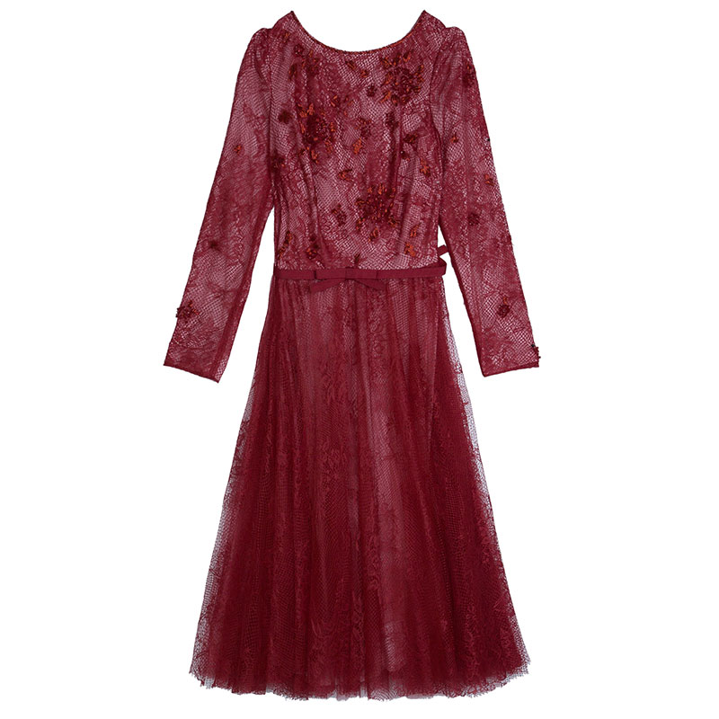 Red Lace Embellished Dress M USD 612