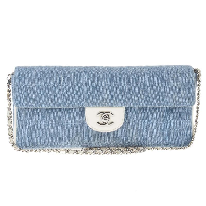 Chanel Blue Denim Chocolate Bar Medium East-West Bag
