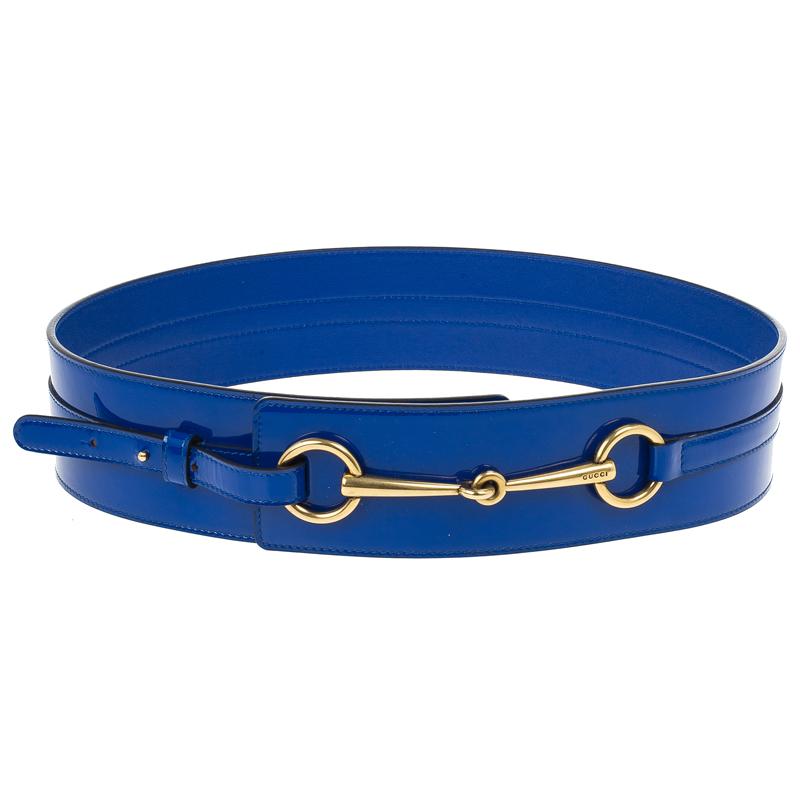 Gucci Blue Patent Horsebit Waist Belt