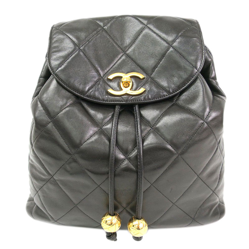 Black Quilted Lambskin Backpack USD 3,753