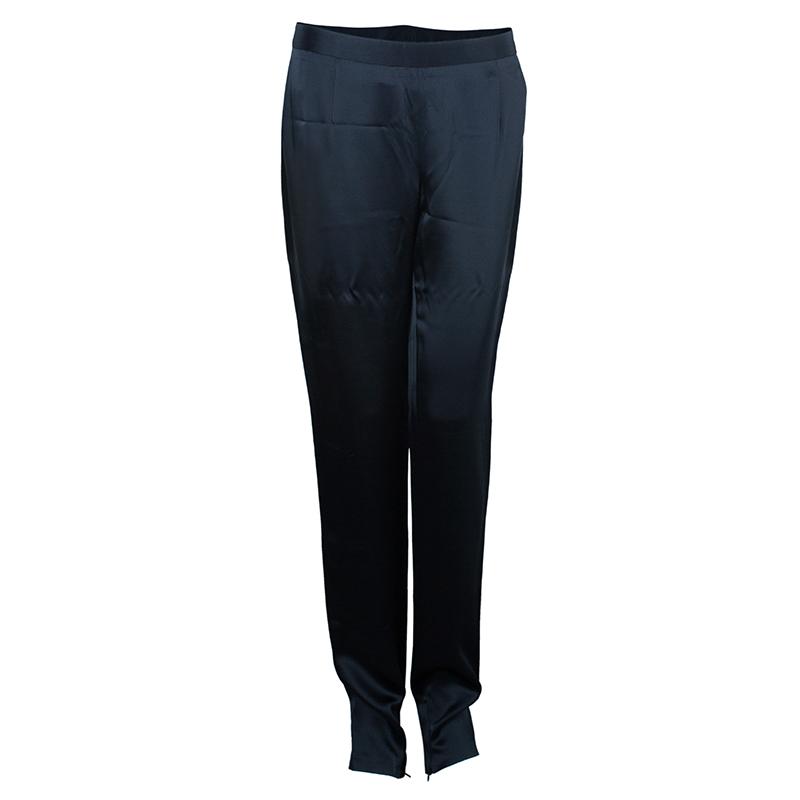 Black Satin Slim Pants M USD 197