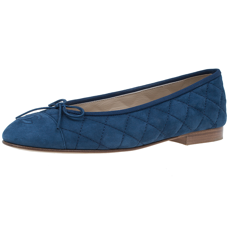 Blue Quilted Suede CC Ballet Flats Size 38 USD 685