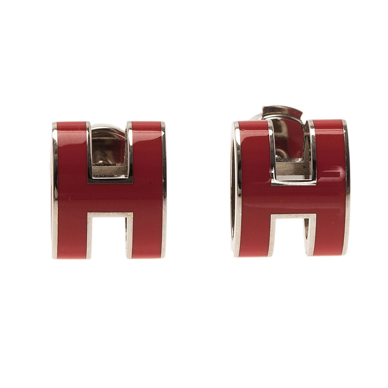 Hermes Pop H Red Lacquered Earrings