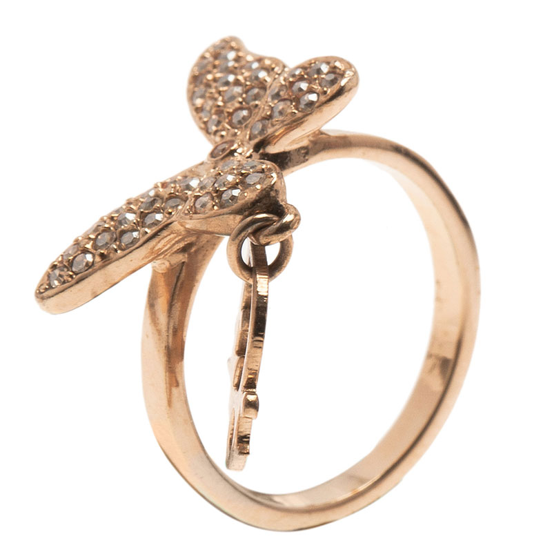 Dior Butterfly Crystal Ring Size 50