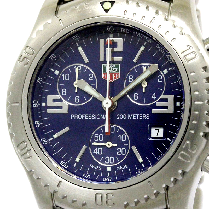 Tag Heuer Blue Stainless Steel Link Chronograph Men's Wristwatch 42MM