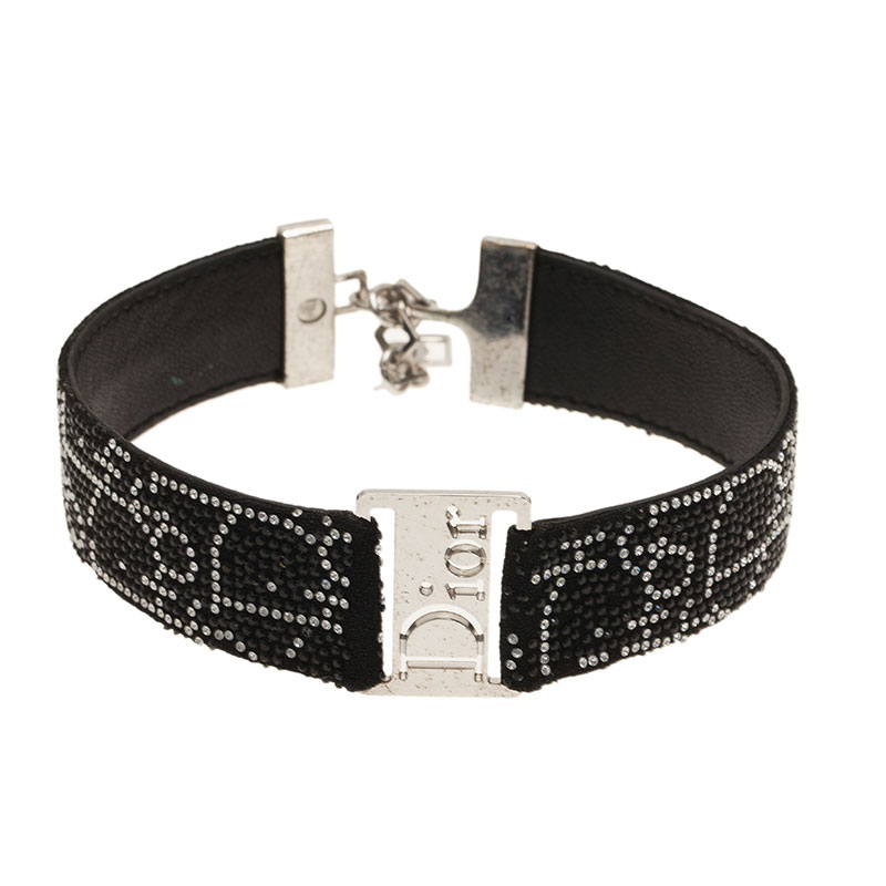 Dior Black Leather Choker Necklace