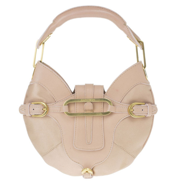 Jimmy Choo Pink Satin and Leather Trim Small Talia Hobo