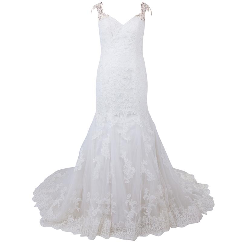 فستان زفاف جاستن ألكساندر عاجي بدون أكمام ذيل السمكة دانتيل L