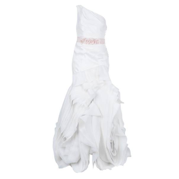 فستان زفاف وايت باي فيرا وانغ بكتف واحد أورجانزا بطيات متوازية M