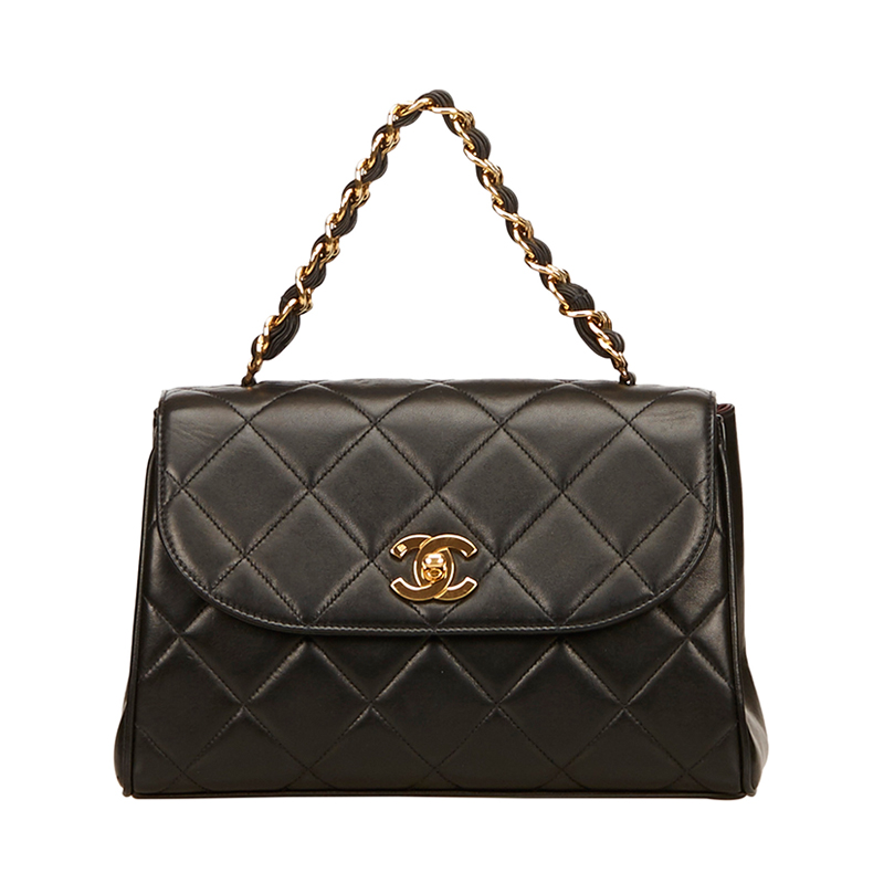 Chanel Black Quilted Lambskin Matelasse Chain Shoulder Bag