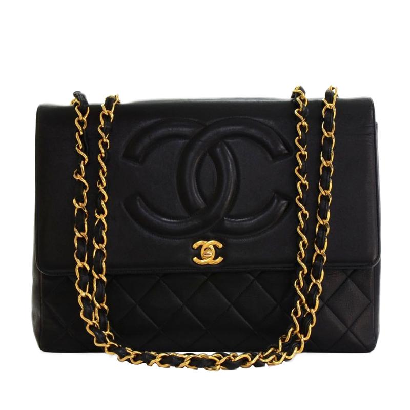 Chanel Black Lambskin Maxi Leather Shoulder Flap Bag