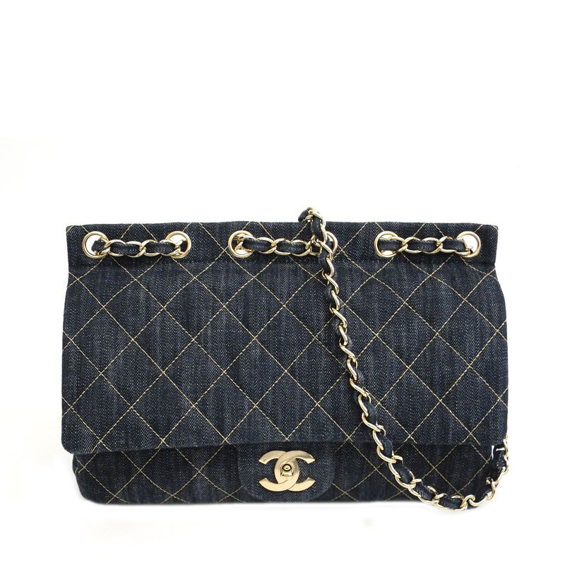 Chanel Denim Single Flap Chain Shoulder Bag