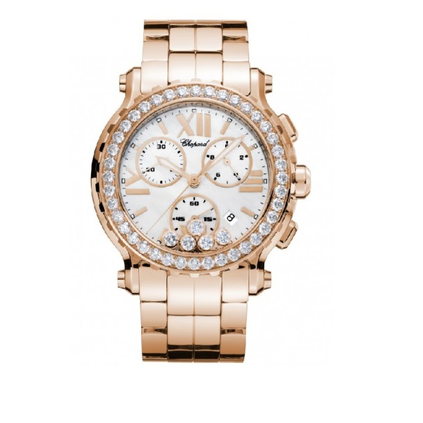 Chopard Happy Sport Chrono 18 K Rose Gold Womens Wristwatch 42 MM