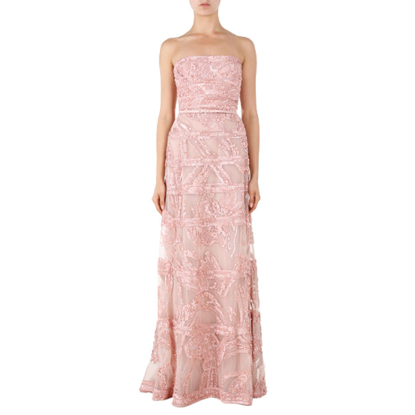 Elie Saab Pink Strapless Embroidered Gown M