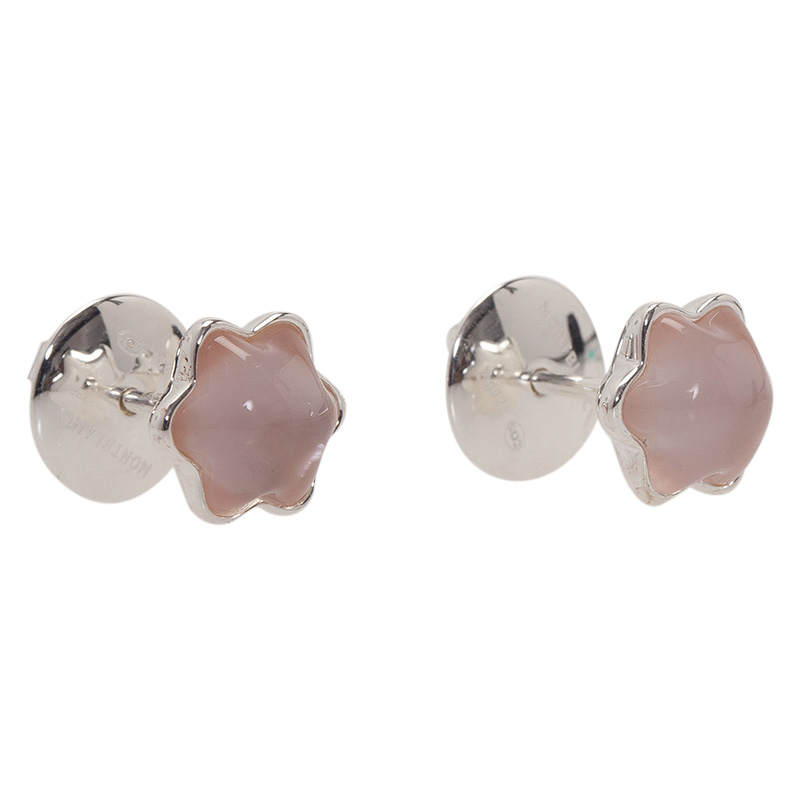 Montblanc Star Rose Quartz Cabouchon Silver Stud Earrings