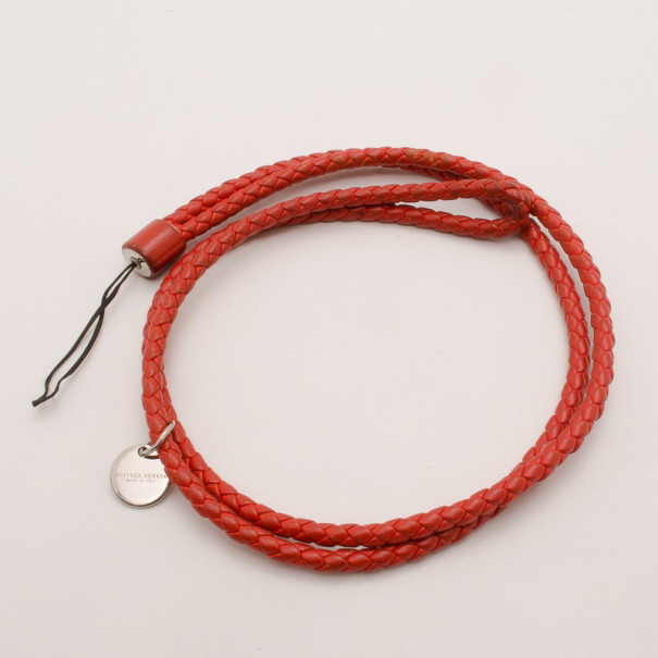 Bottega Veneta Red Intrecciato Nappa Cell Phone Strap