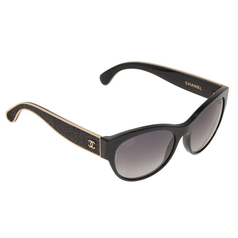 Chanel Black 5273Q Oval Stingray Sunglasses