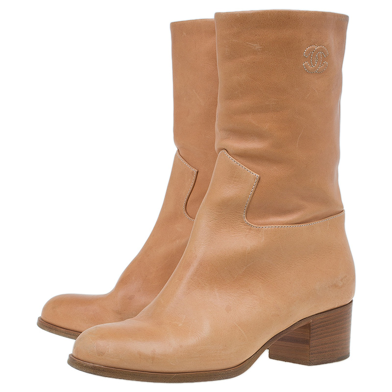 Chanel Tan Leather Mid Calf Boots Size 38.5