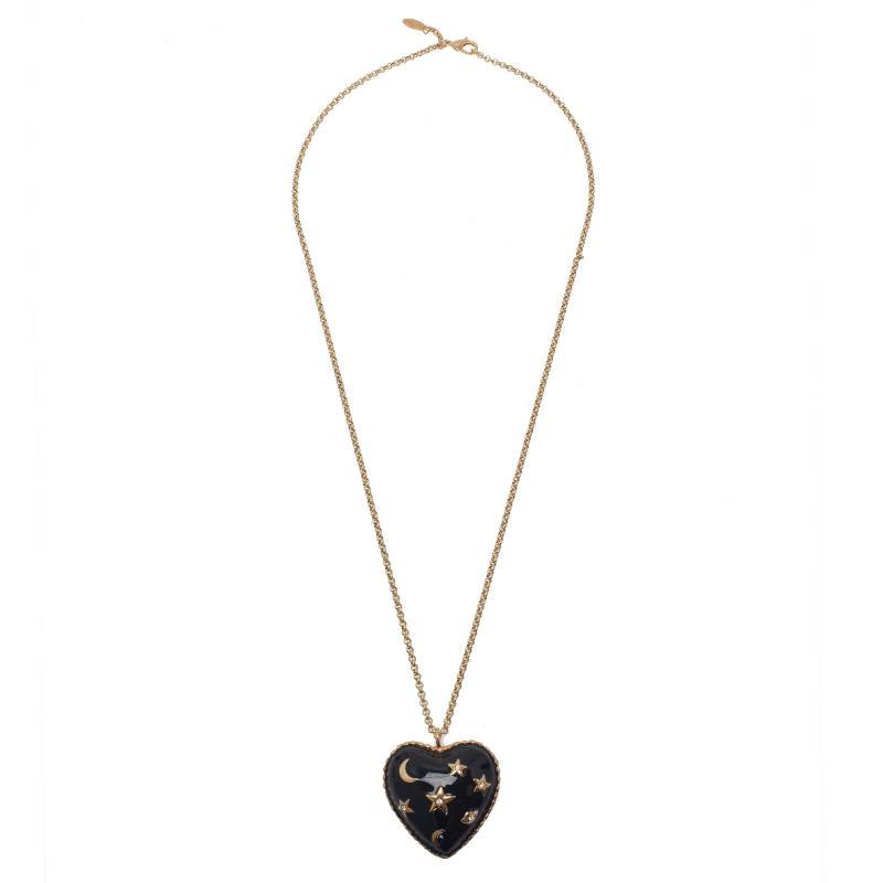 Moschino Moon And Stars Wide Black Pendant Necklace