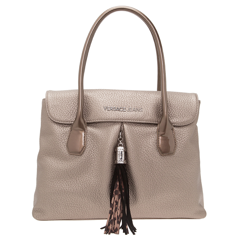 Versace Jeans Metallic Light Brown Pebbled Leather Tassel Shoulder Bag