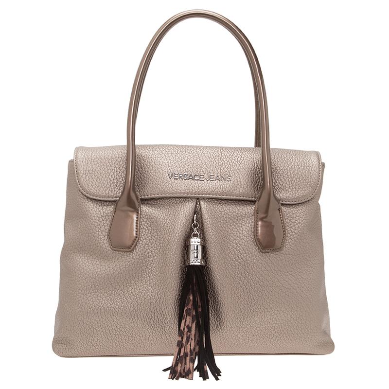 Versace Jeans Metallic Light Brown Pebbled Leather Tassel Shoulder Bag