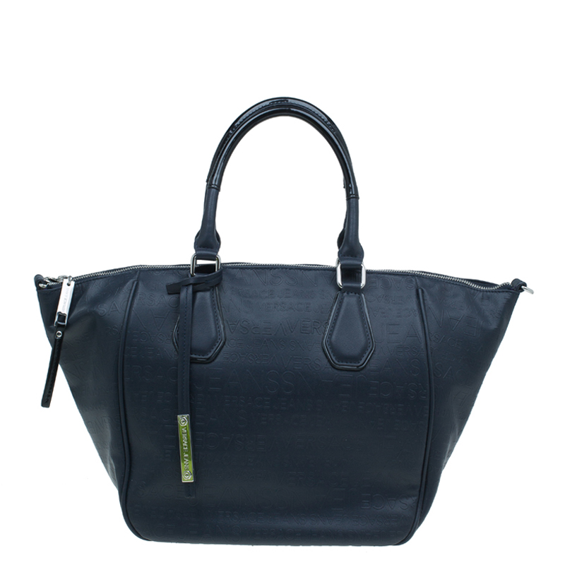 Versace Jeans Navy Blue Embossed Leather Logo Shopping Tote