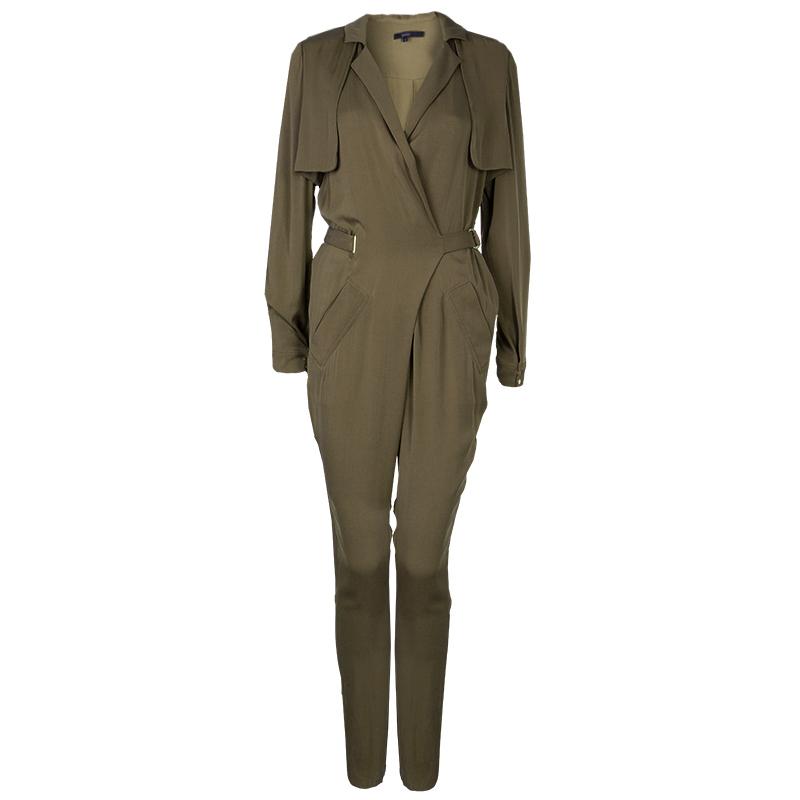 Gucci Olive Green Silk Jumpsuit XS