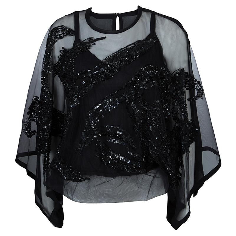 Elie Saab Black Mesh Overlay Sequin Embellished Top S