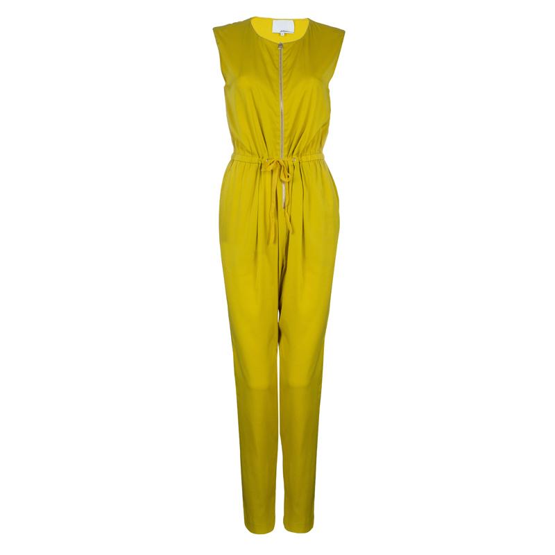 3.1 Phillip Lim Mustard Yellow Silk Zip Detail Sleeveless Jumpsuit XS