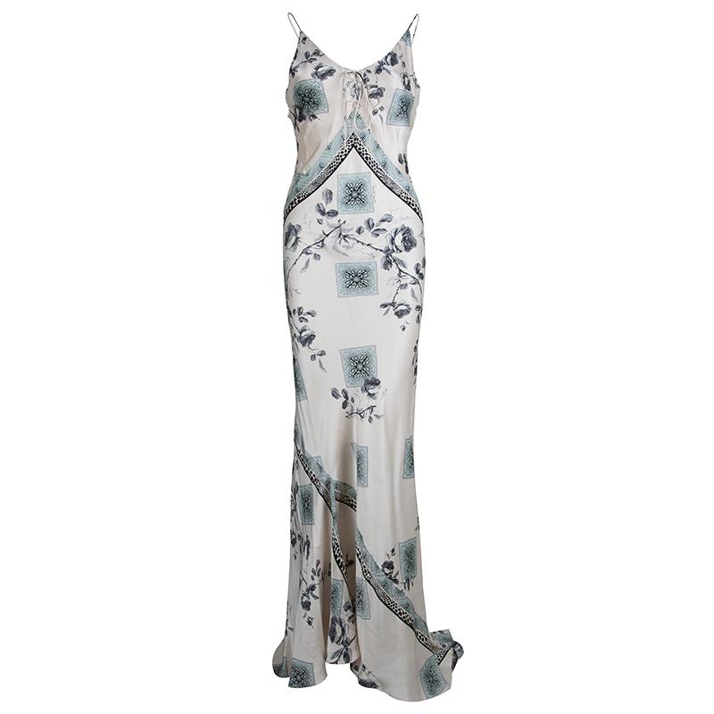 Roberto Cavalli Pale Pink Silk Floral Print Sleeveless Maxi Dress S