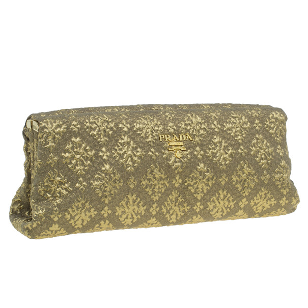 Prada Gold Fabric Floral Brocade Clutch