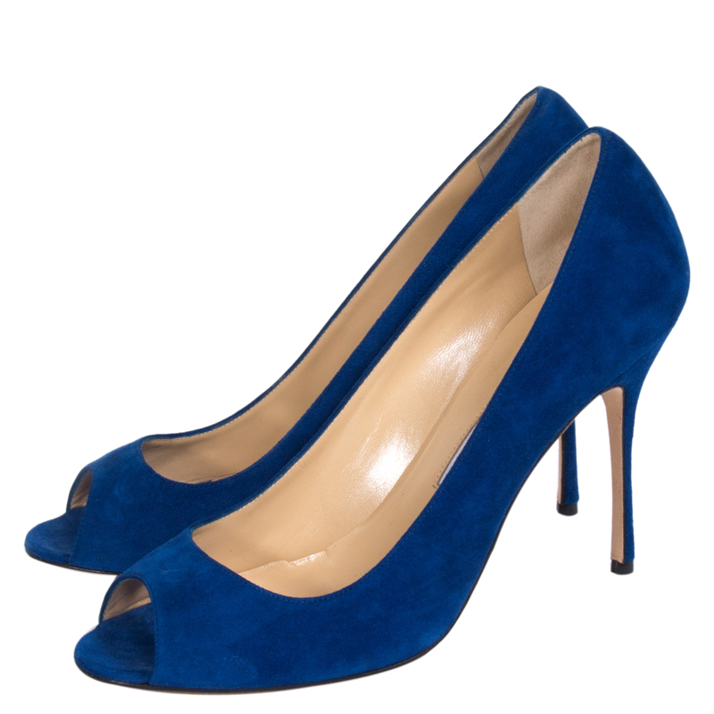 Manolo Blahnik Blue Suede Peep Toe Pumps Size 40.5