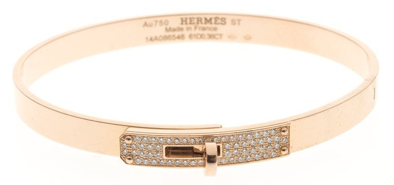 Hermes Kelly Diamond 18k Rose Gold Bangle Bracelet 16cm