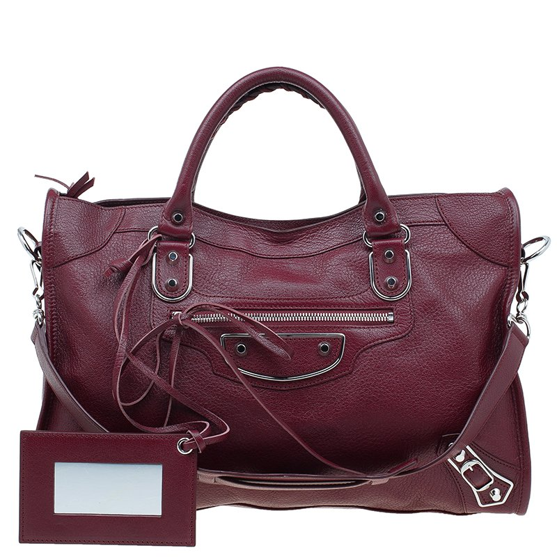 1417a1585ce1 Buy Balenciaga Burgundy Leather Classic Metallic Edge City Bag 41585 at  best price